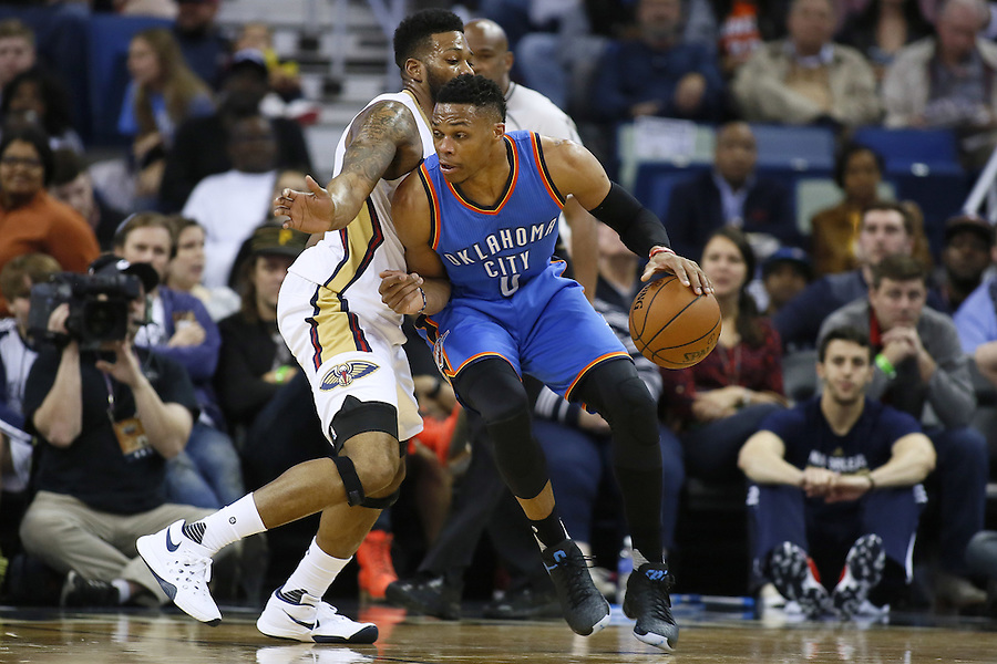 Oklahoma City Thunder guard Russell Westbrook (0) drives against New Orleans Pelicans forward Alonzo Gee (15) during the first half of an NBA basketball game Thursday, Feb. 25, 2016, in New Orleans. (AP Photo/Jonathan Bachman)