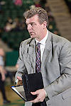 Former NBA player and assistant coach for UALR, Joe Kleine, in action during the game between the Arkansas Little Rock Trojans and the North Texas Mean Green at the Super Pit arena in Denton, Texas. UALR defeats UNT 62 to 57...