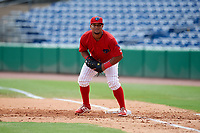 Clearwater Threshers first baseman Wilson Garcia (10) during the first game of a doubleheader against the Lakeland Flying Tigers on June 14, 2017 at Spectrum Field in Clearwater, Florida.  Lakeland defeated Clearwater 5-1.  (Mike Janes/Four Seam Images)