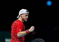 18th November 2020, O2, London, England; Diego Schwartzman of Argentina celebrates during the singles group match against Alexander Zverev of Germany at the ATP  finals in London