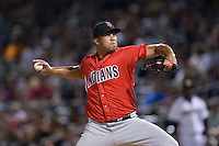 Indianapolis Indians relief pitcher Deolis Guerra (48) in action against the Charlotte Knights at BB&T BallPark on June 20, 2015 in Charlotte, North Carolina.  The Knights defeated the Indians 6-5 in 12 innings.  (Brian Westerholt/Four Seam Images)