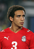Egypt's Hesham Mohamed (3) stands on the field before the match against Costa Rica during the FIFA Under 20 World Cup Round of 16 match between Egypt and Costa Rica at the Cairo International Stadium on October 06, 2009 in Cairo, Egypt.