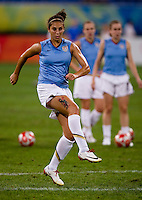 Carli Lloyd. The USWNT defeated New Zealand, 4-0, during the 2008 Beijing Olympics in Shenyang, China.  With the win, the USWNT won group G and advanced to the semifinals.
