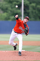 Robert Morey of the Virginia Cavaliers playing in Game Two of the NCAA Super Regional tournament against the Oklahoma Sooners at Charlottesville, VA - 06/13/2010. Oklahoma defeated Virginia, 10-7, to tie the series after two games.  Photo By Bill Mitchell / Four Seam Images