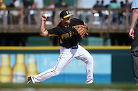 Pittsburgh Pirates second baseman Steve Lombardozzi (23) during a Spring Training game against the Minnesota Twins on March 13, 2015 at McKechnie Field in Bradenton, Florida.  Minnesota defeated Pittsburgh 8-3.  (Mike Janes/Four Seam Images)