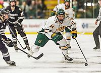 29 December 2014: University of Vermont Catamount Forward Kevin Irwin, a Freshman from Akron, Ohio, in second period action against the Providence College Friars, during the deciding game of the annual TD Bank-Sheraton Catamount Cup Tournament at Gutterson Fieldhouse in Burlington, Vermont. The Friars shut out the Catamounts 3-0 to win the 2014 Cup. Mandatory Credit: Ed Wolfstein Photo *** RAW (NEF) Image File Available ***
