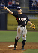 Nolan Fontana returns a ball in Game 3 of the annual Collegiate Friendship Series between Team USA and Japan on Tuesday, July 5, 2011. Photo by Al Drago.