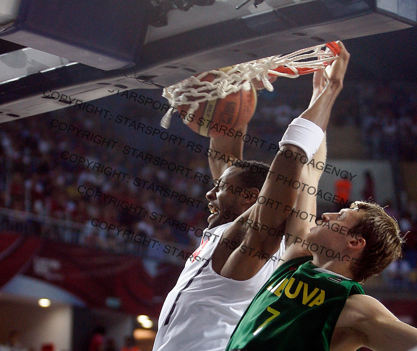 Andre IGUODALA (USA)  passes Russel WESTBROOK (USA)  during the semi-final World championship basketball match against Lithuania in Istanbul, USA-Lithuania, Turkey on Saturday, Sep. 11, 2010. (Novak Djurovic/Starsportphoto.com) .