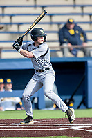 Western Michigan Broncos outfielder Justin Mcintyre (6) at bat against the Michigan Wolverines on March 18, 2019 in the NCAA baseball game at Ray Fisher Stadium in Ann Arbor, Michigan. Michigan defeated Western Michigan 12-5. (Andrew Woolley/Four Seam Images)