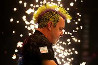 26th May 2021; Marshall Arena, Milton Keynes, Buckinghamshire, England; Professional Darts Corporation, Unibet Premier League Night 15 Milton Keynes; Peter Wright is illuminated by pyro technics