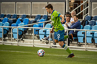 SAN JOSE, CA - MAY 12: Kelyn Rowe #22 of the Seattle Sounders passes the ball during a game between San Jose Earthquakes and Seattle Sounders FC at PayPal Park on May 12, 2021 in San Jose, California.
