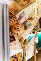 Wagen Triumph des Christentums bei  der Karfreitagsprozession der Semana Santa (Karwoche) in Lorca,  Provinz Murcia, Spanien, Europa