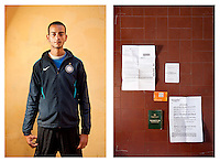 Mohmed, 23 yrs, poses for the photographer, Ventimiglia, Italy 17 May 2011. <br /> <br /> Mohmed left Tataouine, Tunisia, for Italy 3 months ago. He has only entered France once, and spent one night in Nice before being sent back to the Italian border by French police. He said that his bag of belongings was stolen from him at Nice railway station.