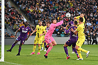 30th May 2021; Auckland, New Zealand;  Josh Sotorio challenges keeper Liam Reddy as the ball is punched clear. <br /> Wellington Phoenix versus Perth Glory, A-League football at Eden Park.