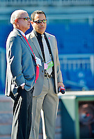 11 October 2012: Washington Nationals Broadcaster Charlie Slowes (right) chats with Team Owner Mark Lerner prior to Postseason Playoff Game 4 of the National League Divisional Series against the St. Louis Cardinals at Nationals Park in Washington, DC. The Nationals defeated the Cardinals 2-1 on a 9th inning, walk-off solo home run by Jayson Werth, tying the Series at 2 games apiece. Mandatory Credit: Ed Wolfstein Photo