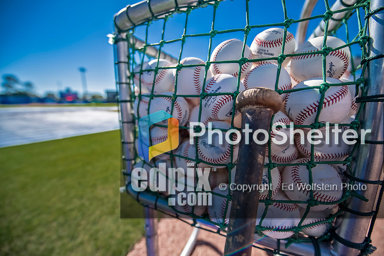 6 March 2019: A basket of new baseballs are ready for Spring Training batting practice prior to a pre-season game between the Philadelphia Phillies and the Toronto Blue Jays at Dunedin Stadium in Dunedin, Florida. The Blue Jays defeated the Phillies 9-7 in Grapefruit League play. Mandatory Credit: Ed Wolfstein Photo *** RAW (NEF) Image File Available ***