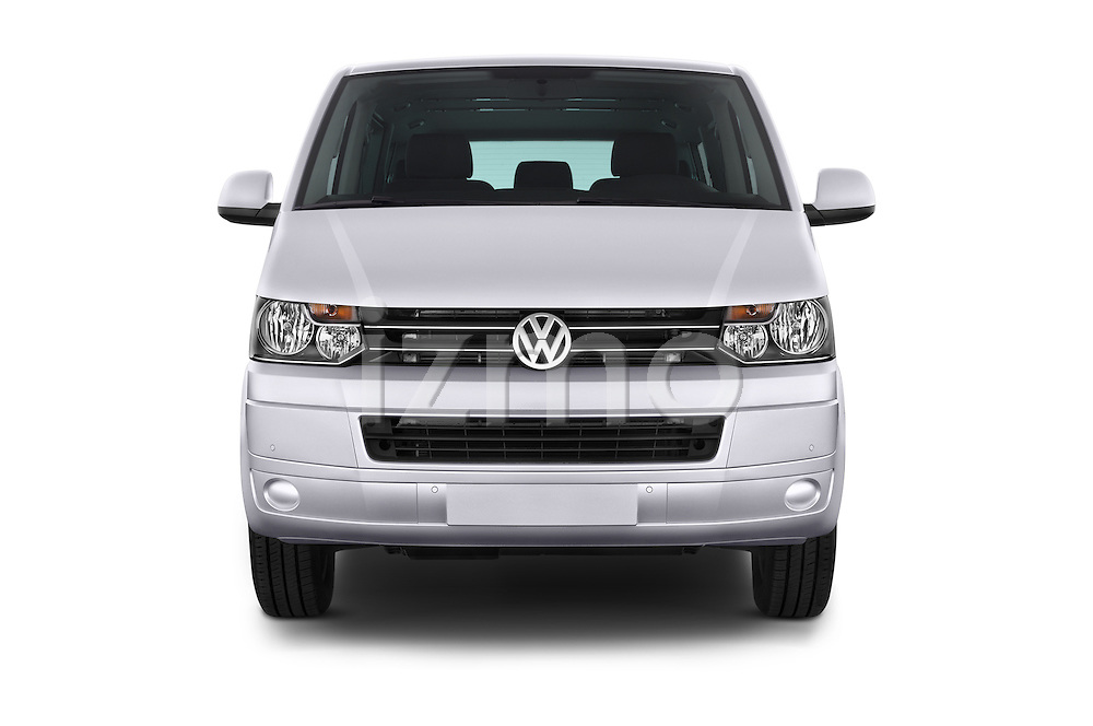 Car photography straight front view of a 2014 Volkswagen CARAVELLE COMFORTLINE 4 Door Passenger Van Front View