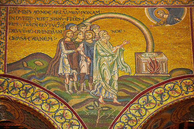 Medieval Byzantine mosaics of God appearing to Noah, Monreale Cathedral, Sicily