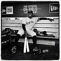 OAKLAND, CA - AUGUST 20: iPhone Instagram of Didi Gregorius of the New York Yankees sitting in the dugout before the game against the Oakland Athletics at the Oakland Coliseum on August 20, 2019 in Oakland, California. (Photo by Brad Mangin)