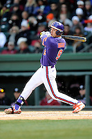 Right fielder Steven Duggar (9) of the Clemson Tigers in the Reedy River Rivalry game against the South Carolina Gamecocks on Saturday, February 28, 2015, at Fluor Field at the West End in Greenville, South Carolina. South Carolina won, 4-1. (Tom Priddy/Four Seam Images)