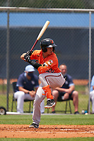 Baltimore Orioles Andrew Martinez (72) bats during a Minor League Spring Training game against the Tampa Bay Rays on April 23, 2021 at Charlotte Sports Park in Port Charlotte, Florida.  (Mike Janes/Four Seam Images)