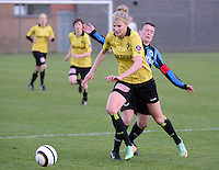 20140502 - VARSENARE , BELGIUM : Lierse's Justine Vanhaevermaet (l) pictured with Brugge's Christine Saelens (r)  during the soccer match between the women teams of Club Brugge Vrouwen  and WD Lierse SK  , on the 26th matchday of the BeNeleague competition on Friday 2 May 2014 in Varsenare .  PHOTO DAVID CATRY