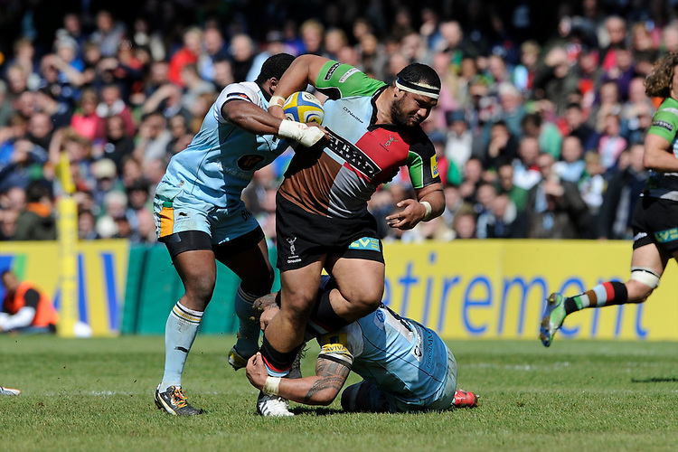 James Johnston of Harlequins drives forward through Brian Mujati (left) and Samu Manoa of Northampton Saintsduring the Aviva Premiership match between Harlequins and Northampton Saints at the Twickenham Stoop on Saturday 4th May 2013 (Photo by Rob Munro)