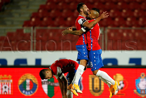 13th November 2020; National Stadium of Santiago, Santiago, Chile; World Cup 2020 Football qualification, Chile versus Peru;  Arturo Vidal of Chile celebrates his second goal with Mauricio Isla in the 35th minute 2-0