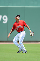 GCL Red Sox outfielder Iseha Conklin (23) during a game against the GCL Twins on July 19, 2013 at JetBlue Park at Fenway South in Fort Myers, Florida.  GCL Red Sox defeated the GCL Twins 4-2.  (Mike Janes/Four Seam Images)