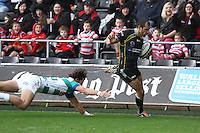 Sunday 19 October 2014<br /> Pictured: Ospreys full-back Dan Evans runs in for a try.<br /> Re: Ospreys v Treviso, Heineken Champions Cup at the Liberty Stadium, Swansea