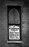 Royal Order of Ethiopian Hebrews, photographed on 35mm B&W Tri-X film in Harlem, NYC, c.1960 by Larence Shustak. All images are scanned from original vintage prints made by Shustak, (status of original negatives unknown). Black Jews was published by Shustak as a limited-edition numbered/signed bound portfolio of 12 silver gelatin prints mounted on acid-free paper.