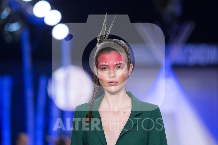 Model walks the catwalk during David Christian fashion show at MFS in Madrid, Spain. February 09, 2016. (ALTERPHOTOS/Victor Blanco)