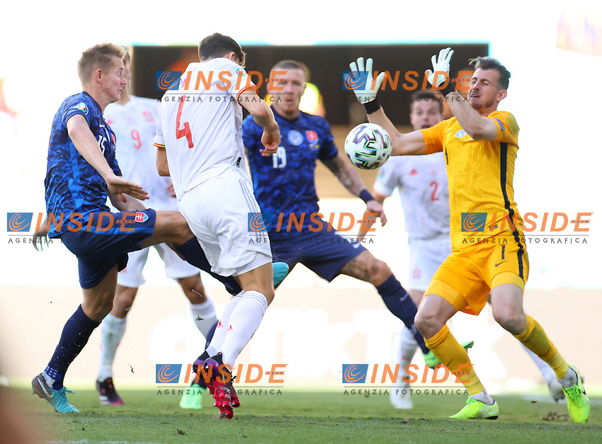 SEVILLE, SPAIN - JUNE 23: Pau Torres of Spain heads a shot before Juraj Kucka of Slovakia scores an own goal during the UEFA Euro 2020 Championship Group E match between Slovakia and Spain at Estadio La Cartuja on June 23, 2021 in Seville, Spain. (Photo by Fran Santiago - UEFA/UEFA via Getty Images)<br /> Photo Uefa/Insidefoto ITA ONLY