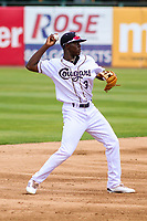 Kane County Cougars shortstop Jasrado Chisholm (3) makes a throw to first base during a Midwest League game against the Quad Cities River Bandits on July 1, 2018 at Northwestern Medicine Field in Geneva, Illinois. Quad Cities defeated Kane County 3-2. (Brad Krause/Four Seam Images)