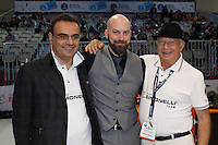 MELBOURNE, 26 MAY - Pete LICATA from USA pose for a photograph with Gianni Cassatini from Nuova Simonelli at the World Barista Championship 2013 in Melbourne, Australia. Photo Sydney Low / syd-low.com