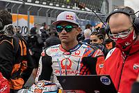 29th August 2021; Silverstone Circuit, Silverstone, Northamptonshire, England; MotoGP British Grand Prix, Race Day; Pramac Racing Team rider Jorge Martin on his Ducati Desmosedici GP21 sits on the starting grid
