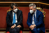 The Minister of Culture Dario Franceschini and the minister of Defense Lorenzo Guerini during the information at the Senate about the government crisis.<br /> Rome(Italy), January 19th 2021<br /> Photo Pool Francesco Fotia/Insidefoto
