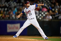 Buffalo Bisons relief pitcher Chris Smith (33) delivers a pitch during a game against the Pawtucket Red Sox on August 31, 2017 at Coca-Cola Field in Buffalo, New York.  Buffalo defeated Pawtucket 4-2.  (Mike Janes/Four Seam Images)