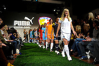 14 WPS players led by Los Angeles Sol Johanna Frisk walk the runway during the unveiling of the Women's Professional Soccer uniforms at the Event Place in Manhattan, NY, on February 24, 2009. Photo by Howard C. Smith/isiphotos.com