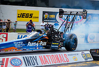 Aug 9, 2020; Clermont, Indiana, USA; NHRA top fuel driver Clay Millican during the Indy Nationals at Lucas Oil Raceway. Mandatory Credit: Mark J. Rebilas-USA TODAY Sports