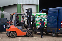 5-3-2021 Loading a pallet of bagged potatoes into a van<br /> ©Tim Scrivener Photographer 07850 303986<br />      ....Covering Agriculture In The UK....