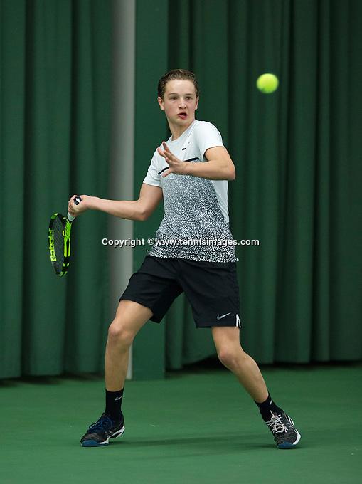 Rotterdam, The Netherlands, March 11, 2016,  TV Victoria, NOJK 12/16 years, Maarten Zwanen (NED)<br /> Photo: Tennisimages/Henk Koster