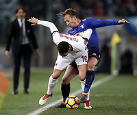 Football Soccer: Tim Cup semi-final second Leg, SS Lazio vs AC Milan, Stadio Olimpico, Rome, Italy, February 28, 2018.<br /> Milan's Hakan Calhanoglu (l) in action with Lazio's Lucas Leiva (r) during the Tim Cup semi-final football match between SS Lazio vs AC Milan, at Rome's Olympic stadium, February 28, 2018.<br /> <br /> UPDATE IMAGES PRESS/Isabella Bonotto