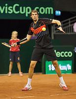 September 14, 2014, Netherlands, Amsterdam, Ziggo Dome, Davis Cup Netherlands-Croatia, Mate Delic (CRO)<br /> Photo: Tennisimages/Henk Koster