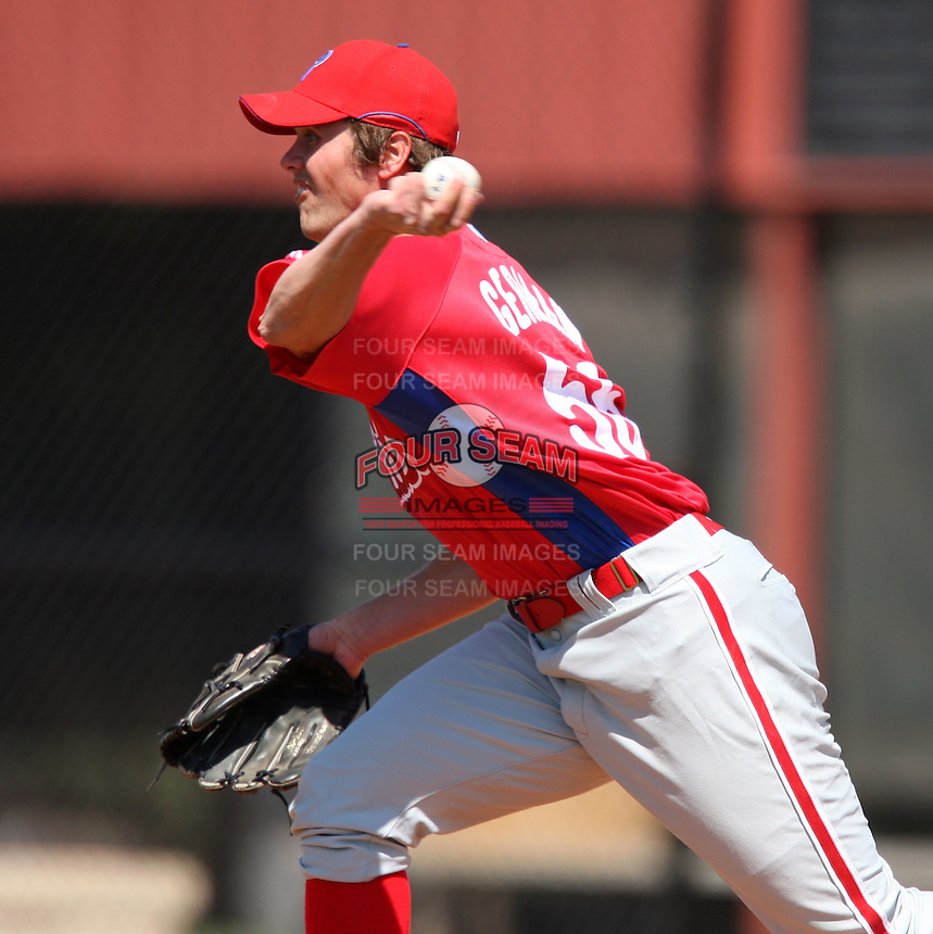 March 30, 2010:  Pitcher Matt German of the Philadelphia Phillies organization during Spring Training at the Carpenter Complex in Clearwater, FL.  Photo By Mike Janes/Four Seam Images