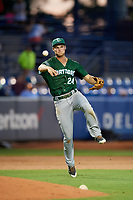 Daytona Tortugas third baseman Brantley Bell (24) throws to first base during a game against the St. Lucie Mets on August 3, 2018 at First Data Field in Port St. Lucie, Florida.  Daytona defeated St. Lucie 3-2.  (Mike Janes/Four Seam Images)
