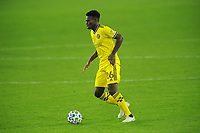 WASHINGTON, DC - OCTOBER 28: Fatai Alashe #26 of Columbus Crew SC moves the ball during a game between Columbus Crew and D.C. United at Audi Field on October 28, 2020 in Washington, DC.