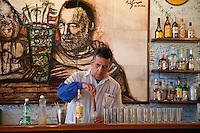 Cuba, Havana.  La Bodeguita del Medio.  Bartender at Work.