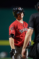 Erie SeaWolves catcher Jake Rogers (7) at bat during a game against the Binghamton Rumble Ponies on May 14, 2018 at NYSEG Stadium in Binghamton, New York.  Binghamton defeated Erie 6-5.  (Mike Janes/Four Seam Images)