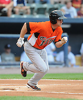 Outfielder Matt Angle (18) of the Norfolk Tides, International League affiliate of the Baltimore Orioles, in a game against the Scranton/Wilkes-Barre Yankees on June 20, 2011, at PNC Park in Moosic, Pennsylvania. (Tom Priddy/Four Seam Images).